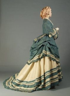 Dress 1870, American, Made of silk taffeta