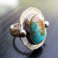 Ring | Jen from jsturquoise designs.  Sterling silver and Kingman Turquoise.