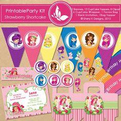 Free Printable Party Kit   Strawberry Shortcake