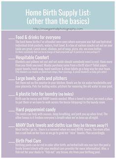 Home birth supply list. Doula care. home birth checklist