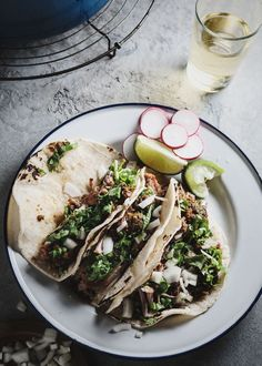Carnitas and tacos and limes, oh yum!
