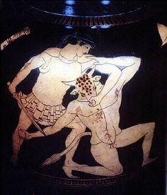 Theseus slaying the Minotaur (Attic Red Figure Stamnos by the Kleophrades Painter, c. 510-470 BC)