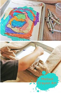 Try this fun alternative to crayon drawing. Draw over a warmed cookie sheet and make melted crayon art!