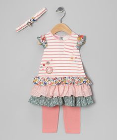 Take a look at this Pink Stripe Ruffle Dress Set - Infant by Cutey Couture on #zulily today!