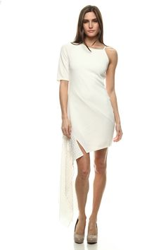 assymetrical one sleeve mini dress with necklace