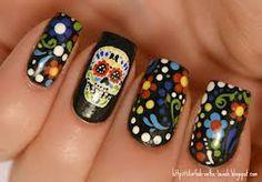 sugar skull nail art - Google Search