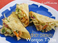 spicy chicken wonton tacos-like applebee's yum Chicken Wonton Tacos, Chicken Wontons, Fried Wonton, Tostadas, Asian Recipes, Mexican Food Recipes, Asian Foods, Chinese Recipes, Chinese Food