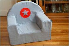 Housse de petit fauteuil en mousse grise avec flex rouge