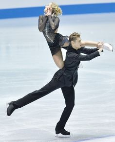 TOKYO, JAPAN - APRIL 12:  Pernelle Carron and Lloyd Jones of France compete in the ice dance free dance during day two of the ISU World Team Trophy at Yoyogi National Gymnasium on April 12, 2013 in Tokyo, Japan.