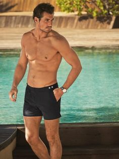 Shirtless David Gandy Models His Marks And Spencer Swimwear Collection- well, who wouldn't want to go swimming with David? Huh? Huh?