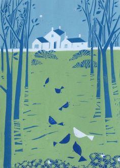 Farmhouse Linocut, Original Hand-Pulled Print, Limited Edition by Giuliana Lazzerini