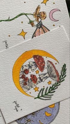 Cool Art Drawings, Art Drawings Sketches, Indie Drawings, Pretty Art, Cute Art, Illustration Design Graphique, Arte Indie, Mushroom Art, Mushroom Drawing