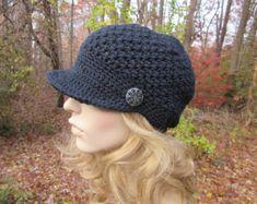 Crochet Hat, Crochet Newsboy Hat, Womens Hat, Black Hat, Mothers Day Gift, Womens Newsboy Hat, Womens Beanie, Adult Hat, Teen Girls Hat,