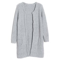 Ladylike Cable Knit Long Cardigan (115 BRL) ❤ liked on Polyvore featuring tops, cardigans, outerwear, jackets, oasap, long sleeve tops, long line cardigan, loose long sleeve tops, cut loose tops and cable knit cardigan