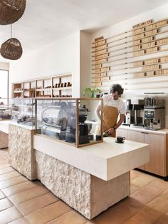 Los Angeles studio Commune has used plaster walls, wood built-ins and terracotta tile floors to create a rustic feel inside this bakery in Santa Monica. BreadBlok is a bakery founded by Chloé Charlie Bakery Shop Design, Coffee Shop Interior Design, Restaurant Interior Design, Pastry Shop Interior, Coffee Cafe Interior, Small Restaurant Design, Small Cafe Design, Design Furniture, Plywood Furniture