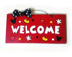 Welcome Sign. Mickey Mouse parts with clear glitter.