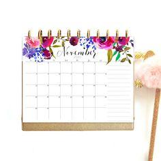 Large Wall Calendar 2020, Printable Watercolor Calendar, A3 Calendar, desk calendar pad