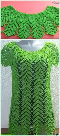 Crochet Leaf Lace Top Blouse Free Pattern Video - #Crochet Women Sweater Pullover Top Free Patterns