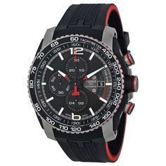 Tissot PRS 516 Black Dial Chronograph Black Rubber Men's Watch (W-T0794272705700)