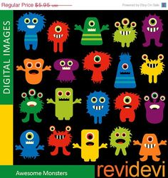 80% OFF SALE MONSTER clipart / Awesome monsters por revidevi