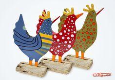 papier mache hens