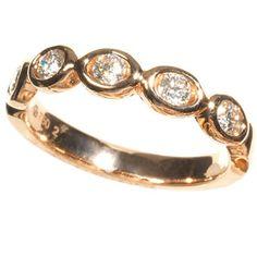 """Oasis"" 18k rose-gold band with diamonds totaling .33 carat, $1,800, Gumuchian"