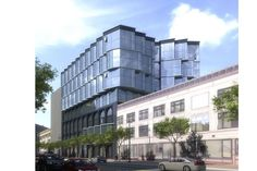 The development proposals for Market Street include a 13-story building at 1028 Market that would have retail on the ground floor and housing above. The base would include tile and metal detailing while the upper floors would be glass. The architect is SCB for developer Tidewater Capital. Photo: Scb, SCB