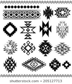 Hand - Drawn look Aztec - Navajo - Indian vector pattern pages - stock . Motif Navajo, Navajo Pattern, Navajo Rugs, Navajo Print, Native American Patterns, Native American Design, Tribal Patterns, Beading Patterns, Motifs Aztèques
