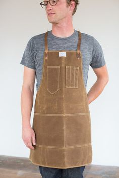 Artisan Apron in Rust Wax Canvas & Brown Leather - Tim in size Regular apron