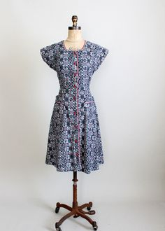 Vintage 1940s Cotton House Day Dress