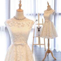 Charming Prom Dress,Lace Prom Dress,Elegant Prom Party Dress,Short