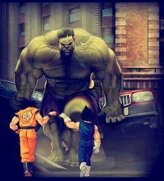 Goku  vegeta vs the Hulk!