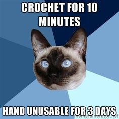 Crochet for 10 minutes Hand unusable for 3 days | Chronic Illness Cat