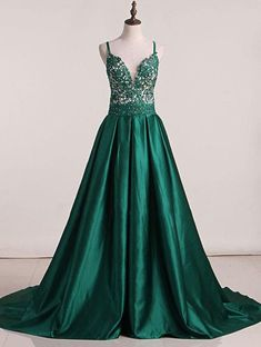 Green Sweep Train Satin Open Back Prom Dresses,PL5138 on Luulla