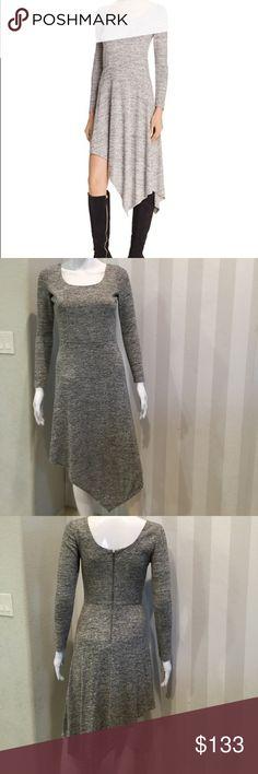 "Alice+Olivia Geneva melange knit asymmetrica dress Fits true to size. Scoop neck, long sleeve,seamed waist,melange knit. Lined. 45"" from back of neck to hem.brand new without tags. Alice + Olivia Dresses Asymmetrical"