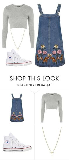"""""""Untitled #950"""" by noellescholte ❤ liked on Polyvore featuring Topshop, Converse and Kacey K Fine Jewelry"""
