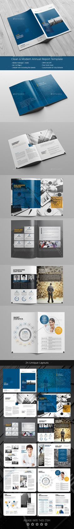 Professional, Creative and High Quality Annual Report 28 Pages A4 - professional report template
