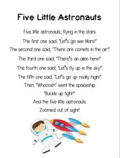 Five Little Astronauts ~ Printable Poem for Outer Space Th Space Theme Preschool, Preschool Songs, Kids Songs, Space Songs For Kids, Outer Space Crafts For Kids, Space Activities For Kids, Space Theme For Toddlers, Preschool Crafts, Astronaut Song
