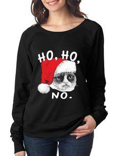 HO HO NO Grumpy cat Women's long sleeve Pullover