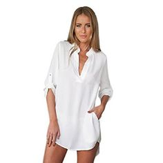 Lookatool® Women's Long Sleeve Tunic V Neck Loose Tops Casual Shirt Blouse at Amazon Women's Clothing store: