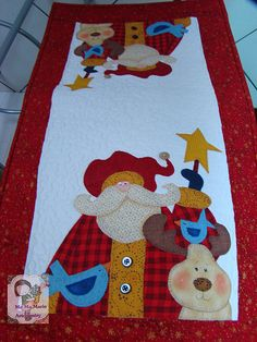 Noel e Rena. Christmas Sewing, Christmas Mood, All Things Christmas, Christmas Blocks, Xmas, Natal Country, Quilted Table Runners, Applique Quilts, Quilting Projects