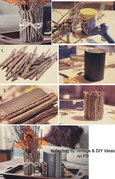 Obsequios que la economía no impedirá que regales ¡A reciclar! diy wood crafts for fall - Diy Fall Crafts Rope Crafts, Diy Home Crafts, Fall Crafts, Diy Crafts For Kids, Vintage Diy, Vintage Ideas, Vintage Photos, Garrafa Diy, Diy Casa