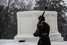 A soldier maintains guard at the Tomb of the Unknown Soldier during the 2016 snowstorm. U.S. Army photo by Cpl. Cody W. Torkelson [2048x1367]