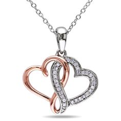 M by Miadora Two-tone Silver 1/6ct TDW Diamond Double Heart Infinity Necklace