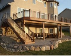 Second Floor Deck with Screened in Porch Design and Stairs - Decomagz Patio Under Decks, Decks And Porches, Second Story Deck, Screened Porch Designs, Screened Porches, Deck Construction, Building A Porch, Building Homes, Deck Stairs