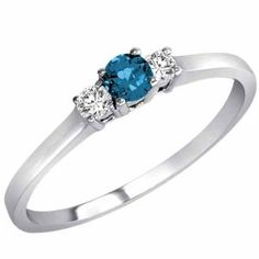 14K White Gold Round 3 Stone Blue Diamond and White Diamond Ring - Size 8 --- http://www.pinterest.com.luvit.in/1jv