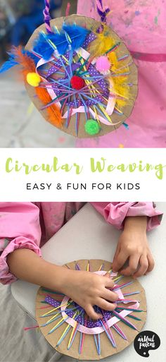 Create beautiful circular weavings with kids using cardboard & yarn for the loom. Weave in feathers, ribbons & pom poms for an easy textile art activity. via TheArtfulParent Paper Weaving, Loom Weaving, Fabric Weaving, Ribbon Crafts, Yarn Crafts, Paper Crafts, Easter Crafts For Kids, Toddler Crafts, Circular Weaving