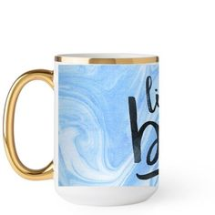 Like A Boss Mug, Gold Handle, 15 oz, Blue