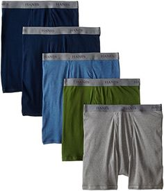 Share this article on your favorite social media and get it for free!   $21.89 Stock up on wardrobe essentials with hanes classics men's 5-pack boxer briefs in black and grey. This set of men's underwear is made of soft, breathable 100 percent cotton and features support seams and a comfortable, full-elastic waistband. Keep it simple with this classic, low-rise boxer brief underwear set.Five Pack of Boxers with ComfortFlex Waistband briefs each featuring logoe