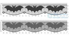 Schema filet uncinetto Halloween bordo con pipistrelli - Schemi filet uncinetto da scaricare gratis